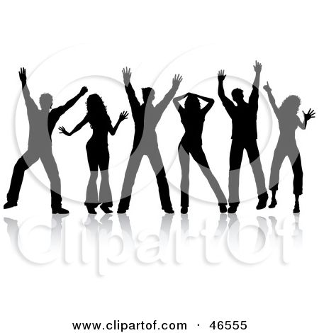 Royalty Free Rf Clipart Illustration Of A Group Of Silhouetted People Dancing In A Line By Kj Pargeter Silhouette People Dancing Clipart Dancing Drawings