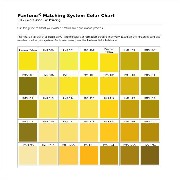 Pantone Color Chart Template   Free Word Excel Pdf Documents