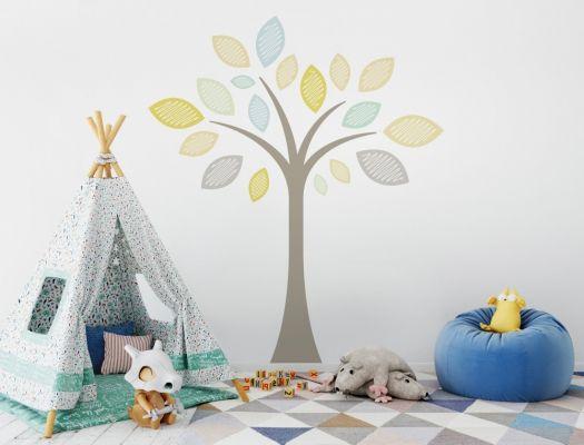 Sommerlicher Pastell Wandtattoo Baum für das Kinderzimmer