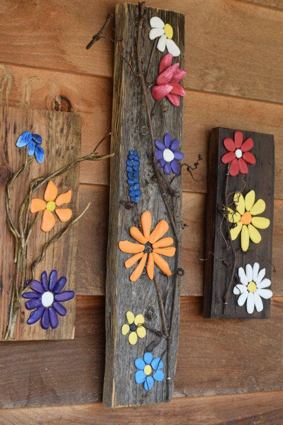 rustic art – flowers – nature – Appalachian Art – stone art – pebble art – office decor – home decor – Christmas – Smoky – Smoky Mtn Art