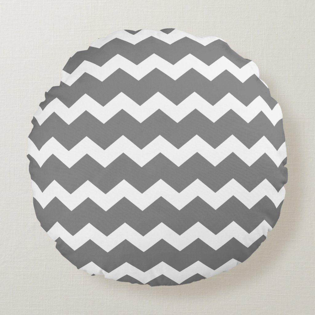 Gray Chevron Round Pillow