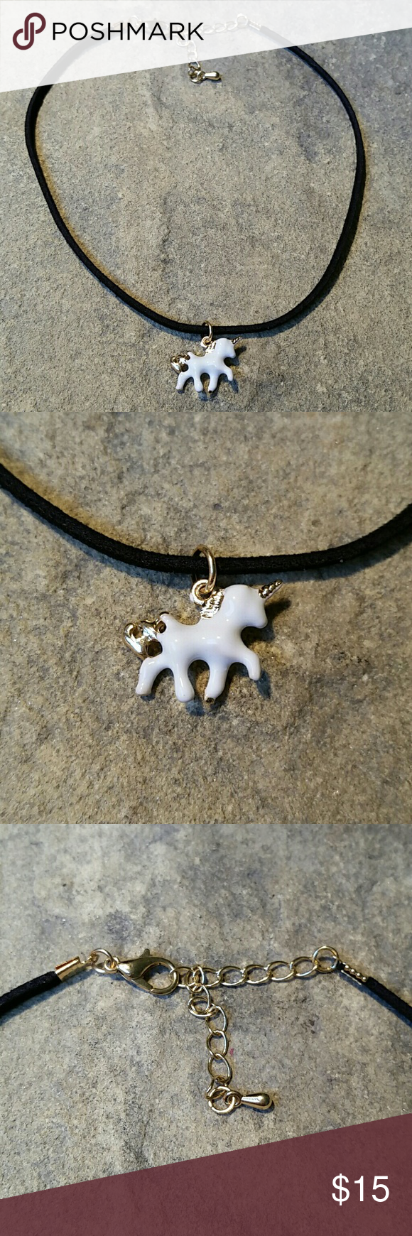 "White & Gold Unicorn Choker Necklace Black Cord Sweet dainty little 3D enameled white & shiny gold metal unicorn short thin choker necklace. The band itself is a super soft high quality faux suede measuring 1/8"" thin, 11.5"" long, with an additional 2.25"" extention chain. The unicorn is 3/4"" wide. A perfect combination of two of this season's hottest trends - unicorns and skinny chokers!  Thank you for visiting my closet, and happy poshing!! :)  SORRY, NO TRADES  BUNDLE & SAVE! Jewelry…"