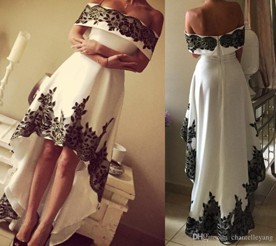 27441ed833 Black And White Short Front Long Back Evening Dresses Vintage Off Shoulder  Appliques Lace Satin Hi Lo Prom Party Gown With Sleeves New Hot Evening  Dresses ...
