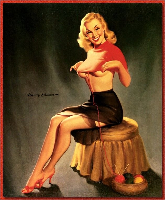 i usually look this hot while i knit harry ekman 1940 39 s vintage love pinterest poster. Black Bedroom Furniture Sets. Home Design Ideas