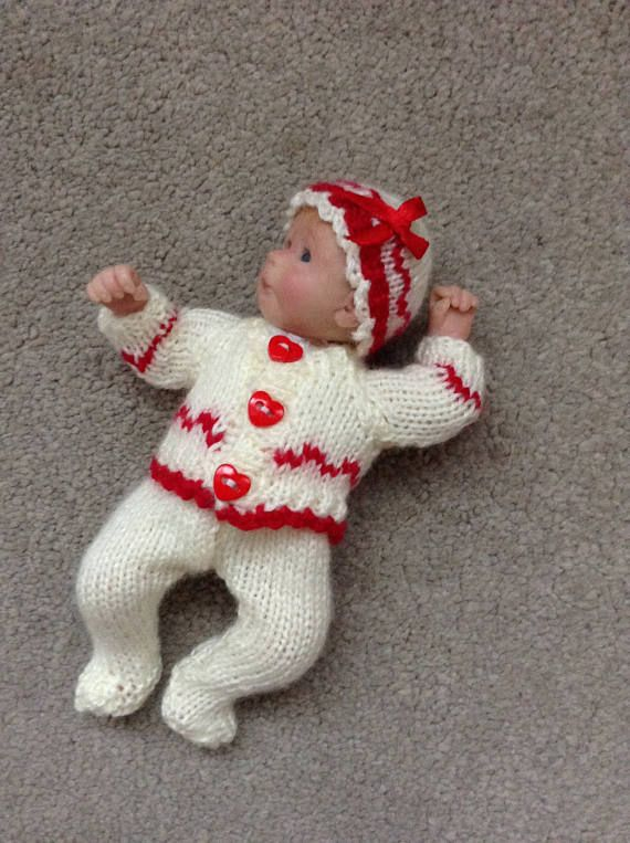 Hand Knitted Dolls Clothes To Fit 6 Ooak Baby Doll Knitted Doll