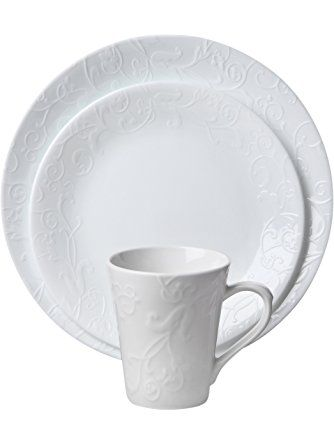 Corelle Embossed Bella Faenza 16-Piece Dinnerware Set Service for 4 White ?  sc 1 st  Pinterest & Corelle Embossed Bella Faenza 16-Piece Dinnerware Set Service for 4 ...