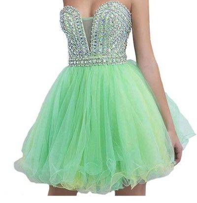 unique mint green corset tutu rhinestone beaded strapless