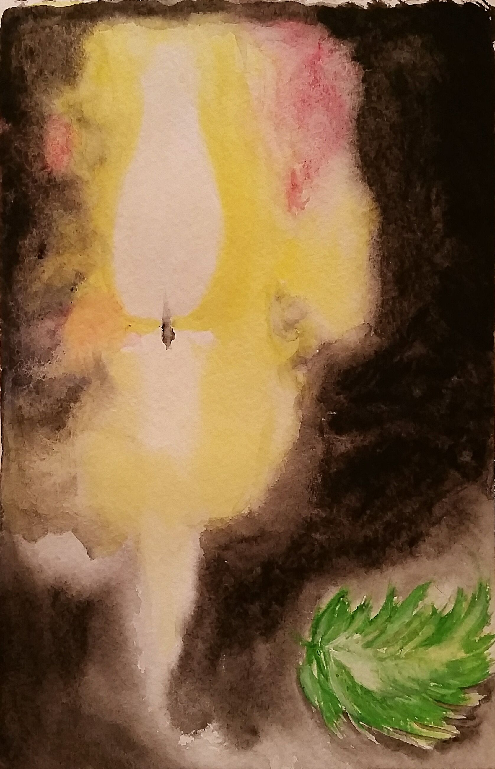 Candle and Green Feather, small watercolor artwork, original watercolor painting, www.radali.co