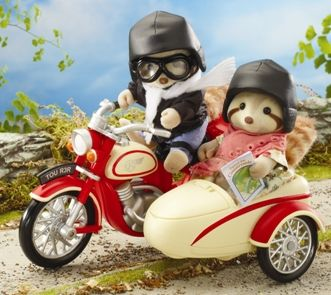 Motorcycle & Sidecar with Mulberry Raccoon Grandparents.