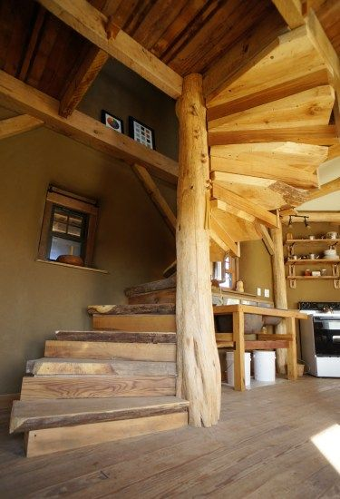 Spiral Staircase In Straw Bale Tiny House