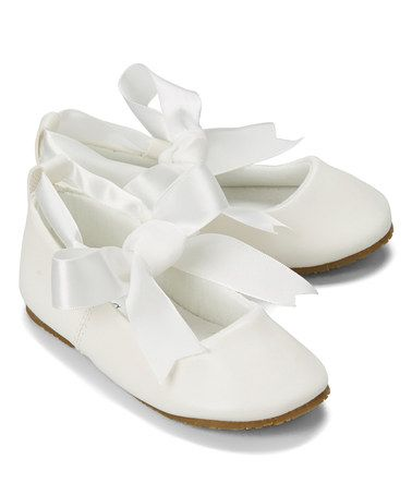 Another great find on #zulily! Ivory Bow Leather Ballet Flat by Kid's Dream #zulilyfinds
