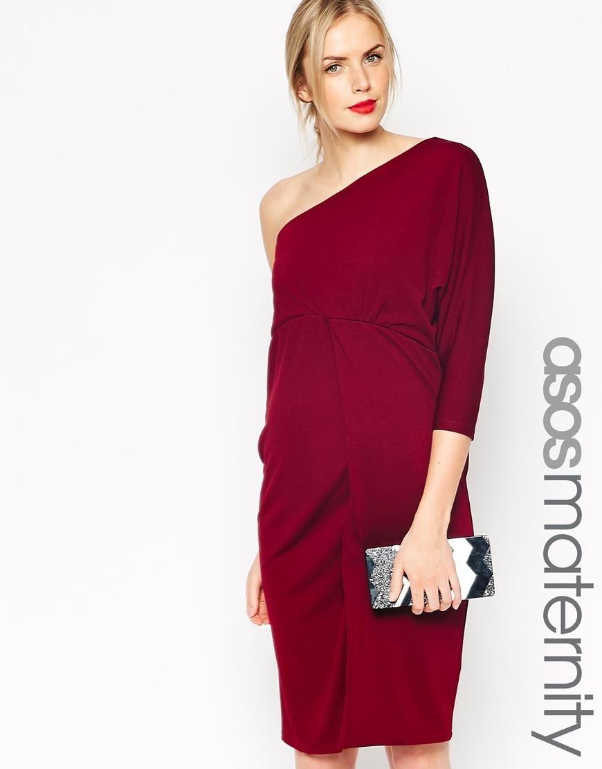 ea24857f2898b ASOS Maternity   ASOS Maternity One Shoulder Dress In Crepe at ASOS ...