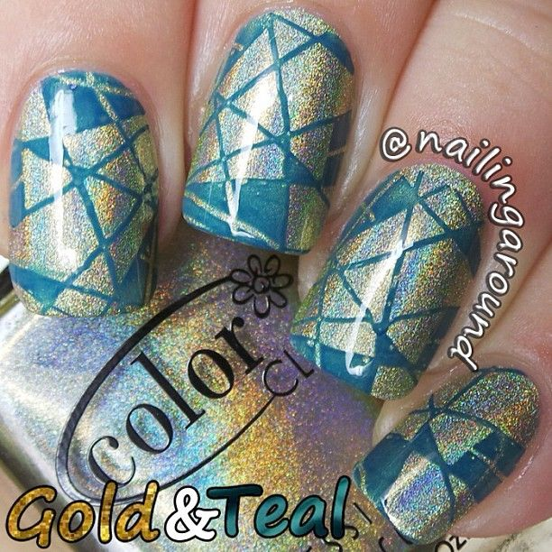 Nail Cake A England Kiko Stained Glass Nail Art: Hologram And Teal- Stamped