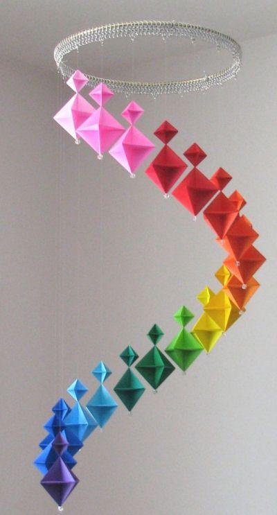 Origami mobile: made with 228 pieces of paper, fishing line, crimp beads, a glass bead for weight and a lot of time... #DIY #crafts