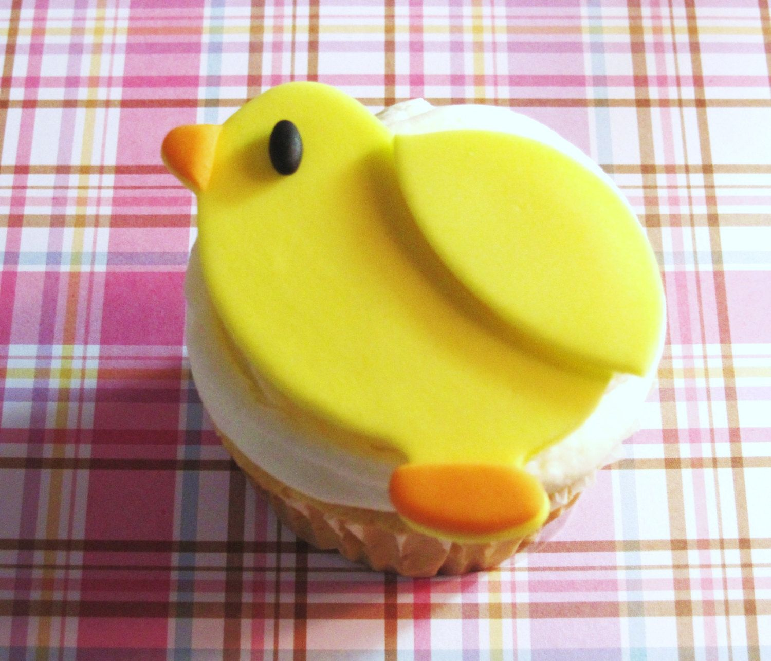 yellow chick cupcake toppers perfect for baby shower or new baby Easter Spring. $15.00, via Etsy.