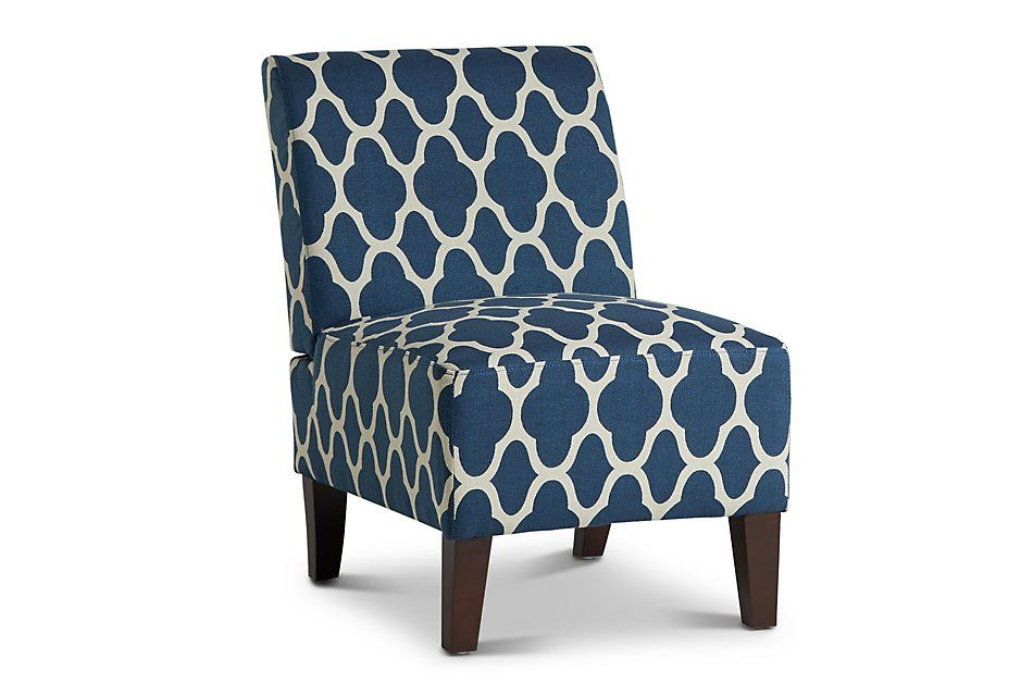 Comet Dark Blue Fabric Accent Chair Living Room Accent Chairs