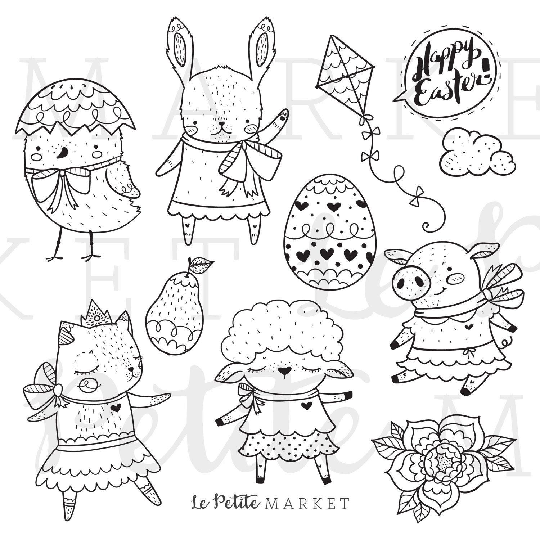 Easter Clip Art Easter Animals Clip Art Spring Animals Clip Etsy Digital Stamps Clip Art Easter Clipart