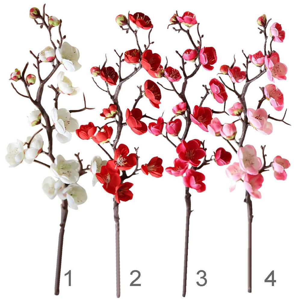 Magideal 1pc Artificial Cherry Blossom Flower Silk Plum Tree Branch Flowers Magideal Cherry Blossom Flowers Blossom Flower Plum Blossom
