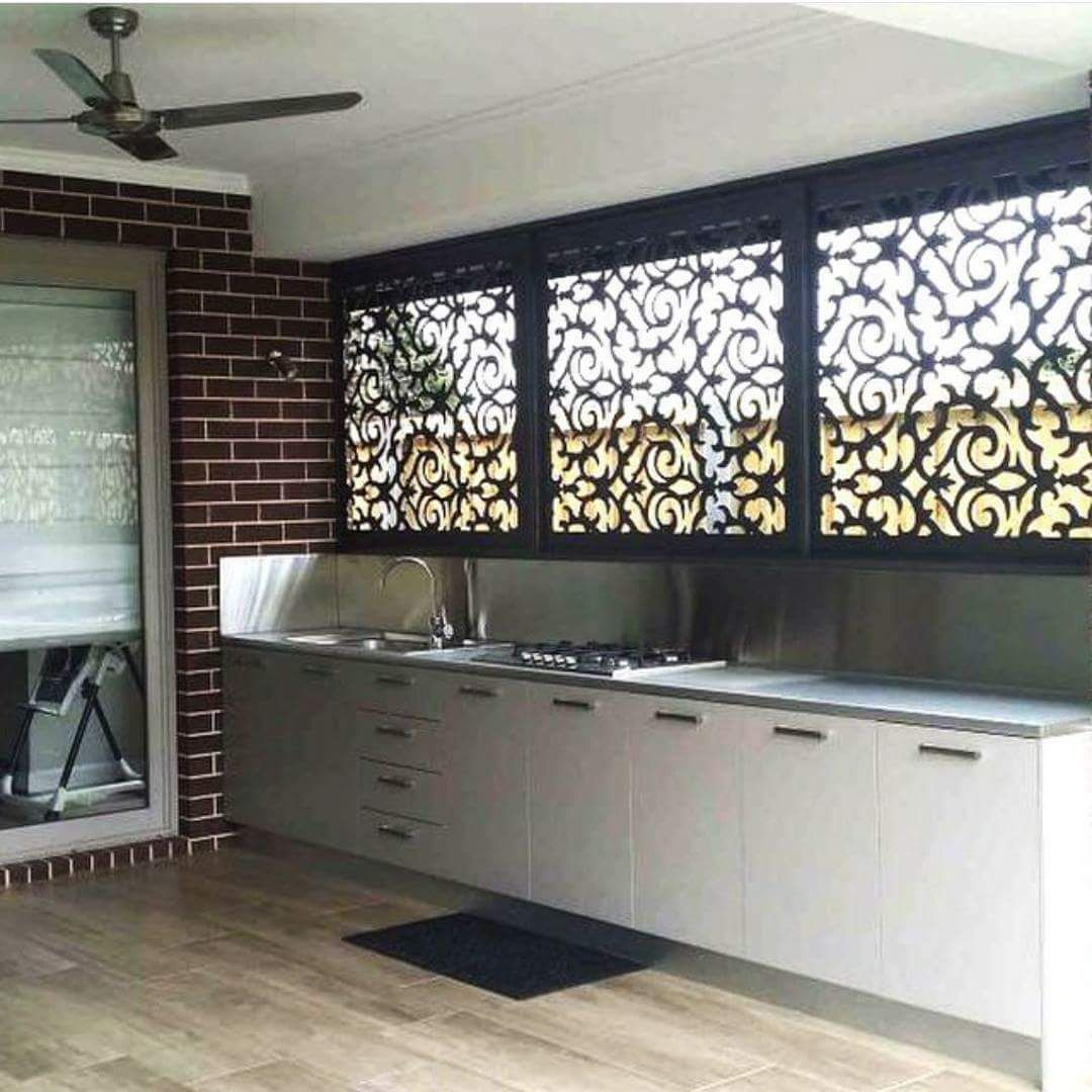 These morocco screens add privacy to your bbq alfresco for Outdoor alfresco designs