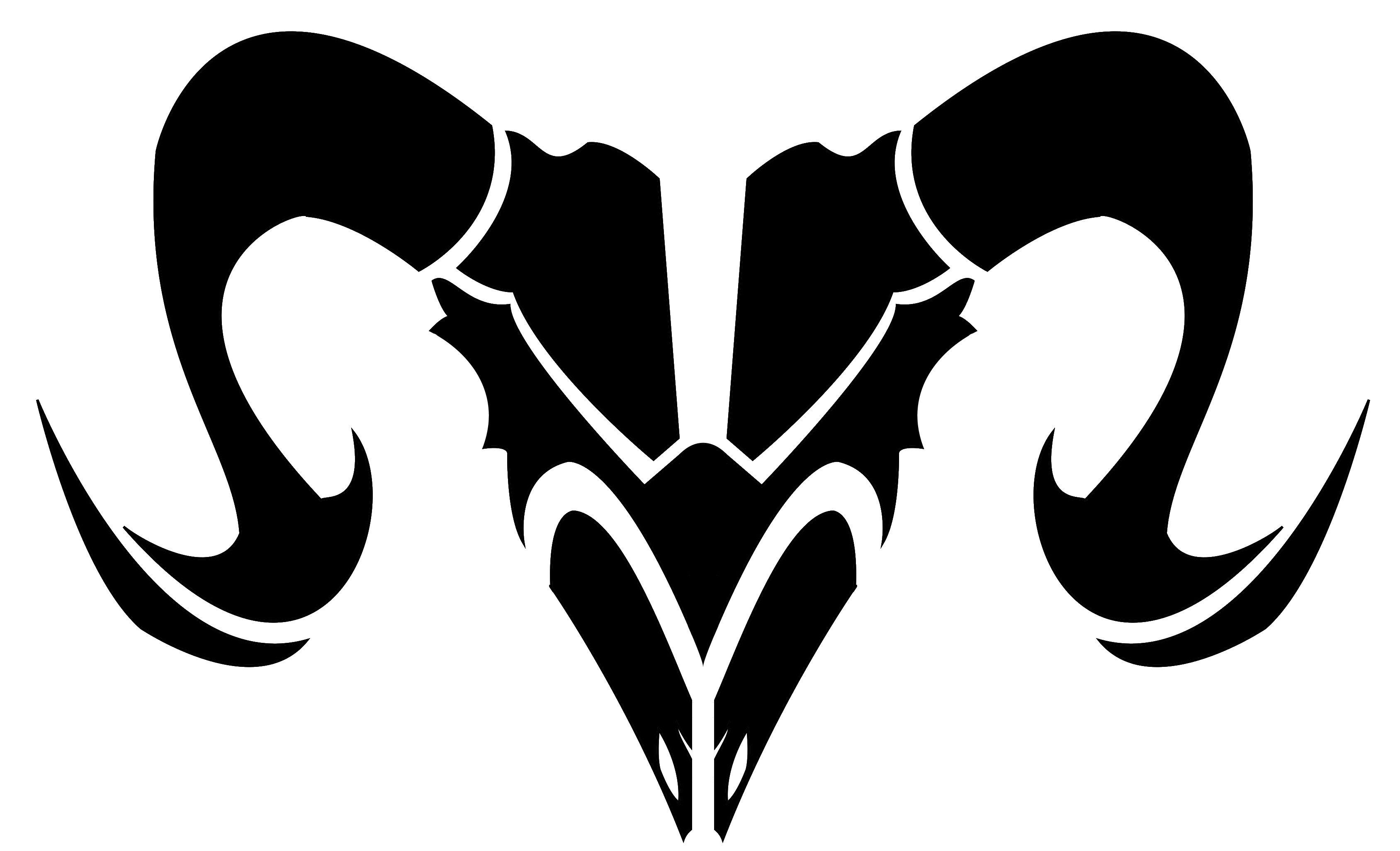 Black Tribal Goat skull Aries Zodiac Tattoo Design Aries