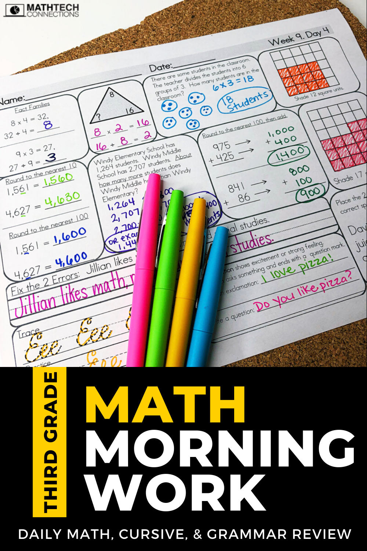 3rd Grade Math Morning Work Math Spiral Review 3rd Grade Math Math Homework [ 1500 x 1000 Pixel ]