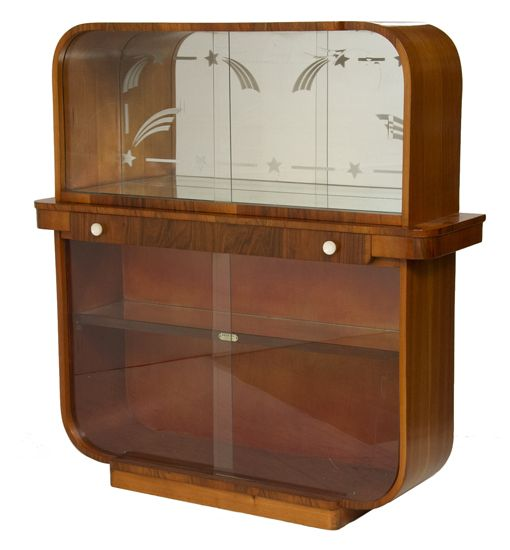 Art Deco Bar Display Cabinet, British C.1940
