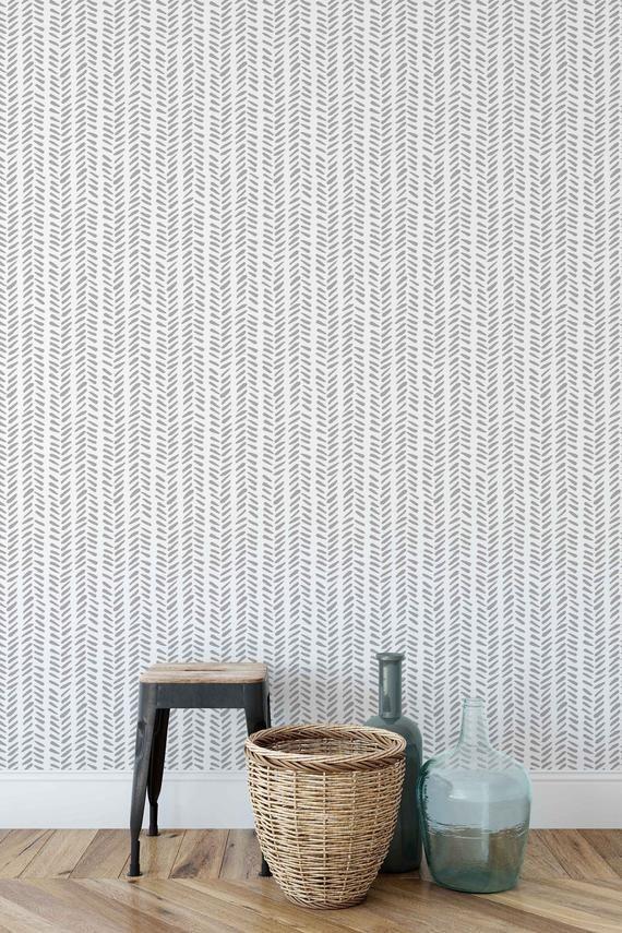 Wallpaper With Delicate Herringbone Print Wall Decal With Etsy Herringbone Wallpaper Removable Wallpaper Peel And Stick Wallpaper
