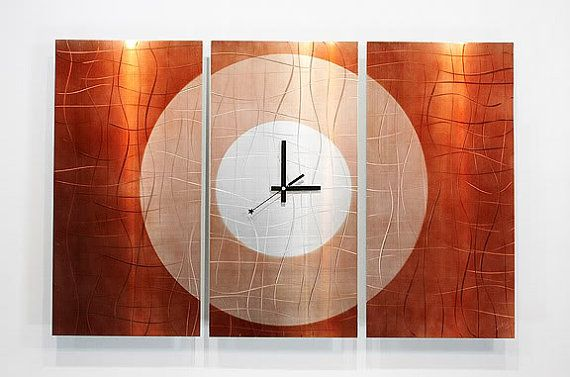 Large Metal Wall Clock Abstract Functional Art Modern Etsy Large Metal Wall Clock Metal Wall Clock Wall Clock Modern