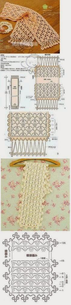 Patrones de bufanda calada para tejer con ganchillo | gorros ...