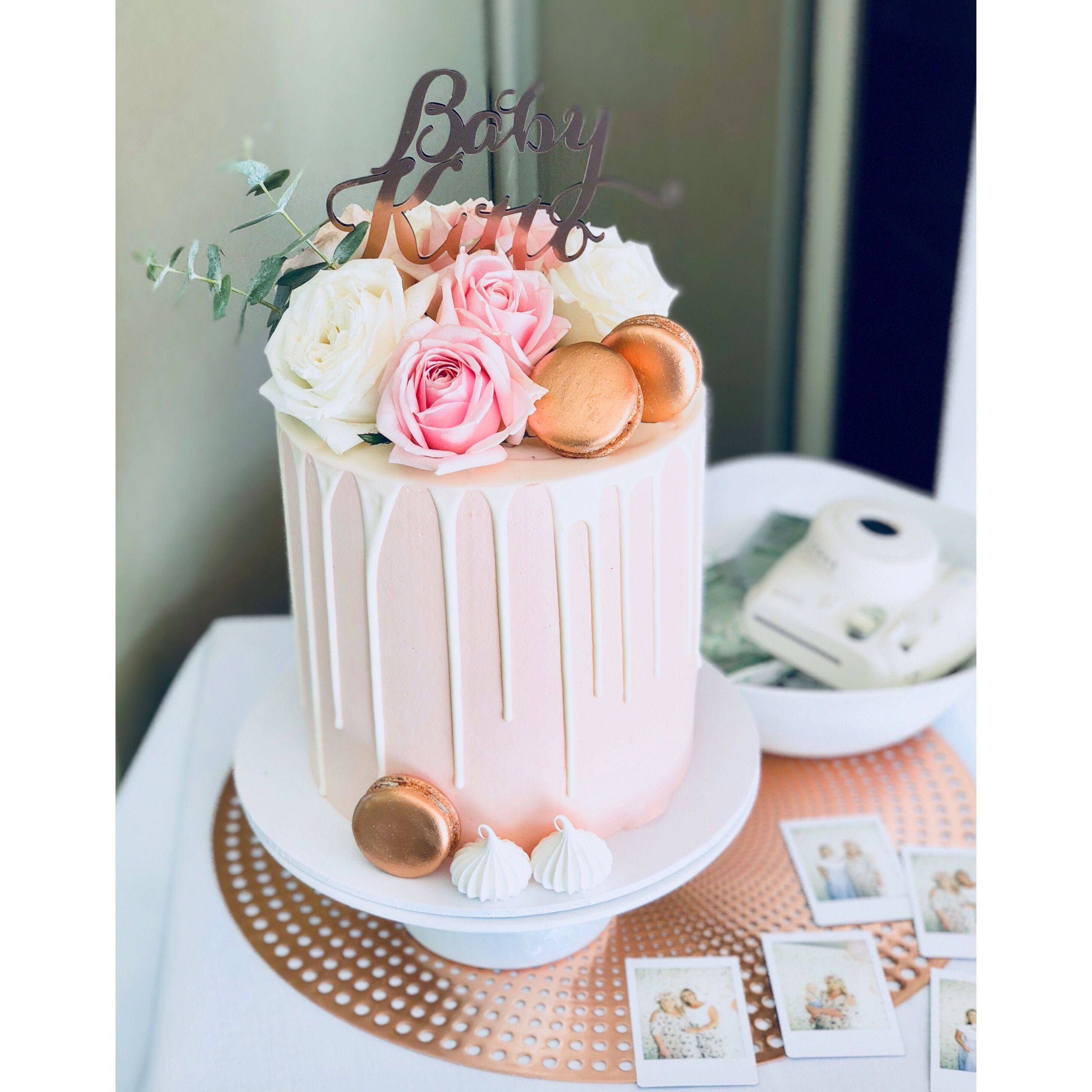 Baby Shower Cake Pink And Rose Gold Chocolate Drip Cake Topper