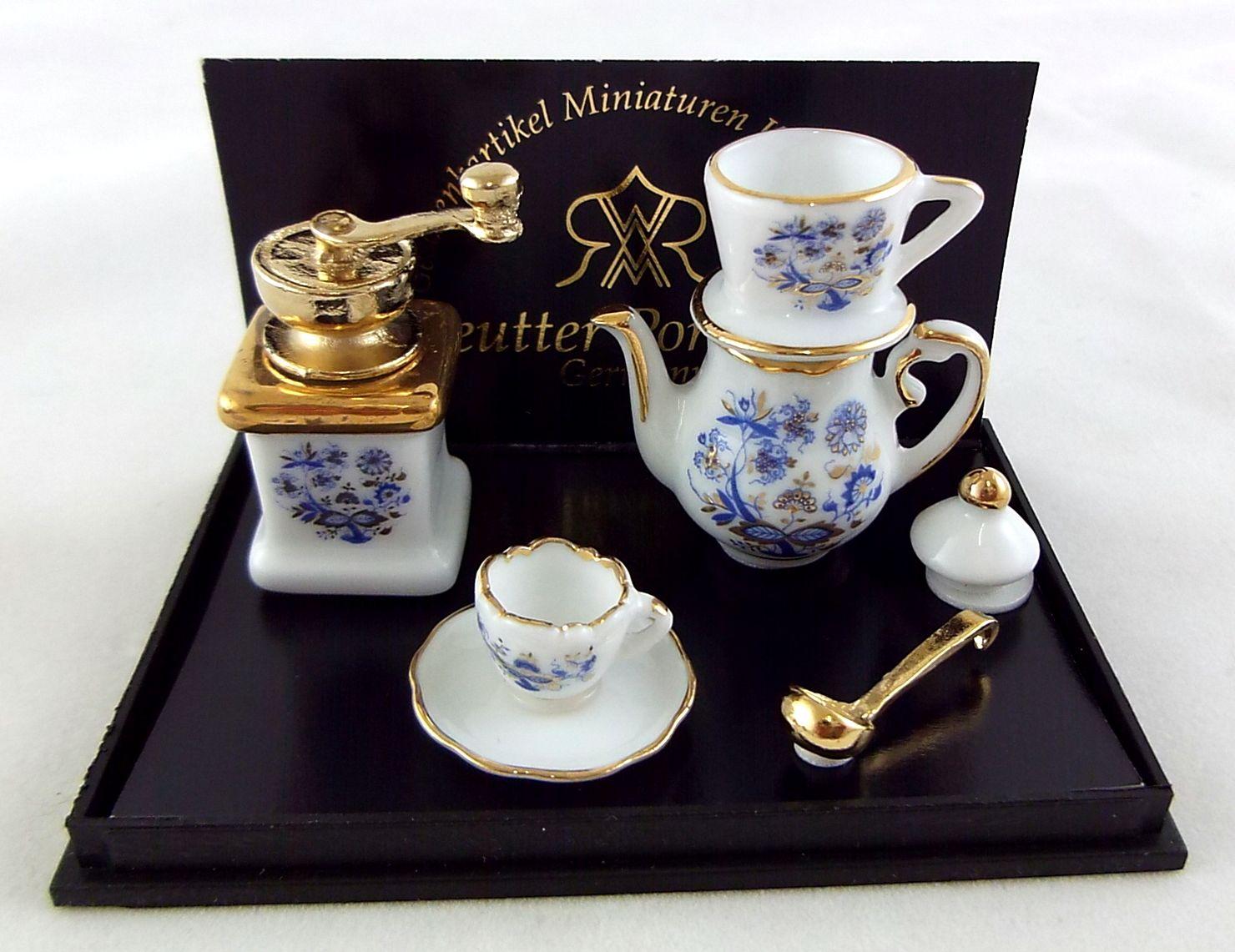 MINIATURE DOLLHOUSE 1:12 SCALE REUTTER BLUE ONION COFFEE MUG SET 1.808//5