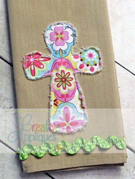 Rounded Raggy Bean Stitch Cross Applique | Christian Faith