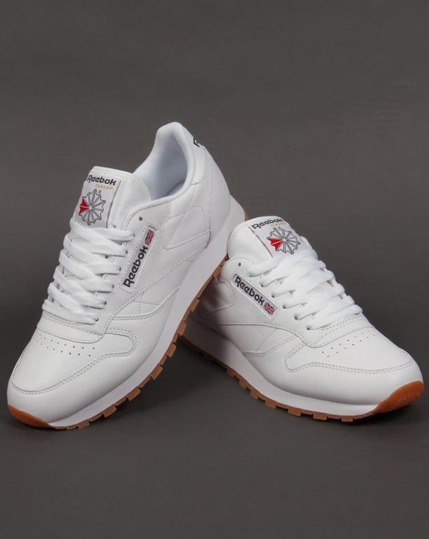Reebok Classic Leather Trainers White/gum,shoes,utility,mens