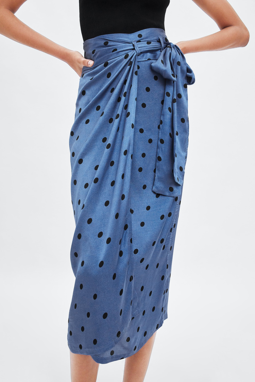 Polka Dot Wrap Skirt High Waist Mini Skirt Handmade Tie Up Summer Skirt