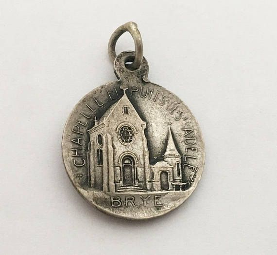 ref 1490 French large silver plated Charm Religious Medal pendant representing Saint Luigi Gonzaga and Mary crushing the snake