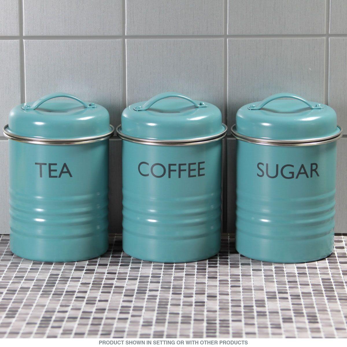 Tea Coffee Sugar Kitchen Canister Set Aqua