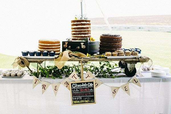Indie Barefoot Farm Wedding  Cake Table Naked Layer Cakes http://jackandhannah.com/