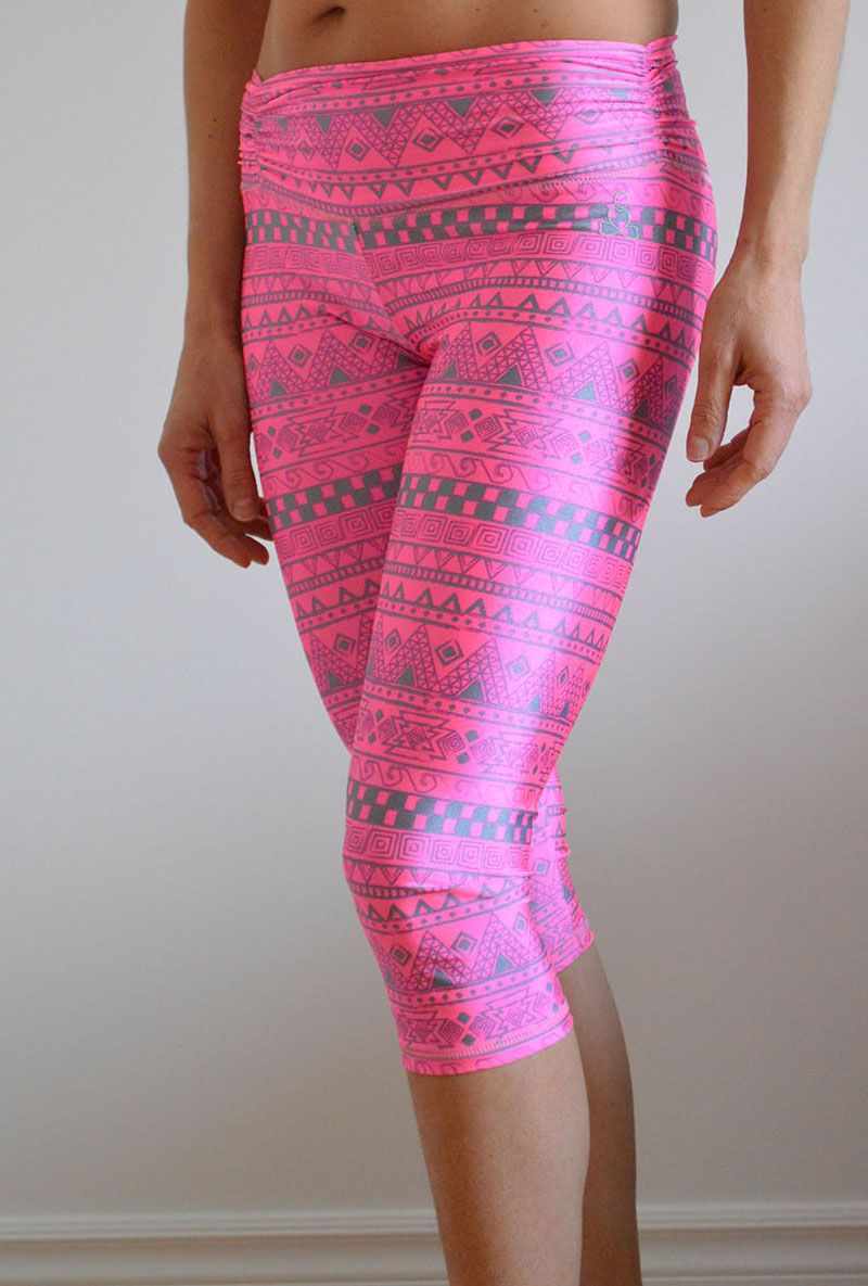 f48ab578e56b9 Hot Yoga Pants in Pink/Silver Aztec print. Made by sweat-n-stretch.com