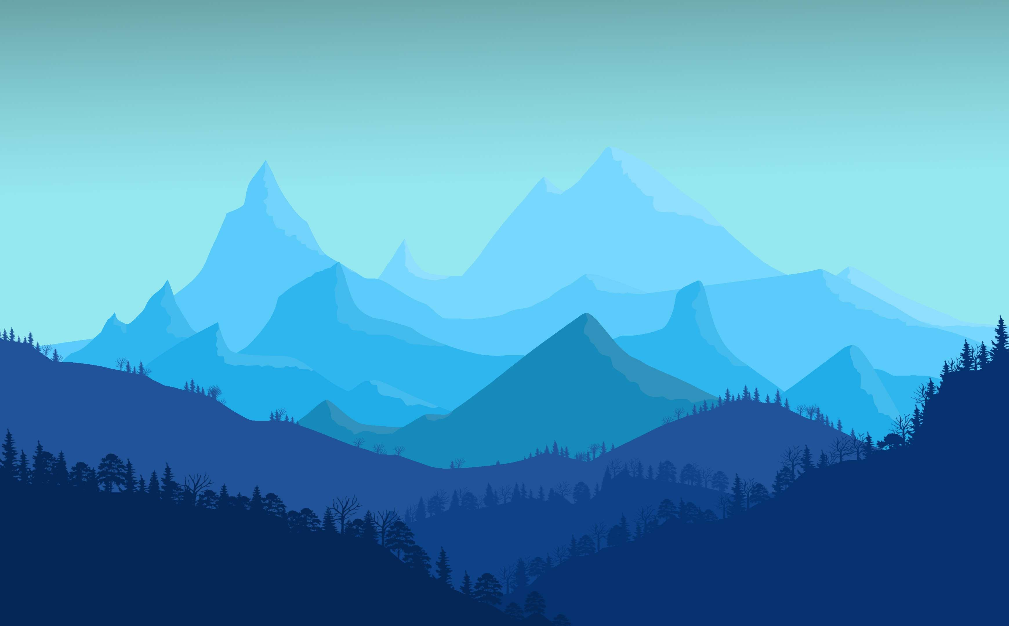 Art blue flat landscape minimal mountains photoshop - 2d nature wallpapers ...