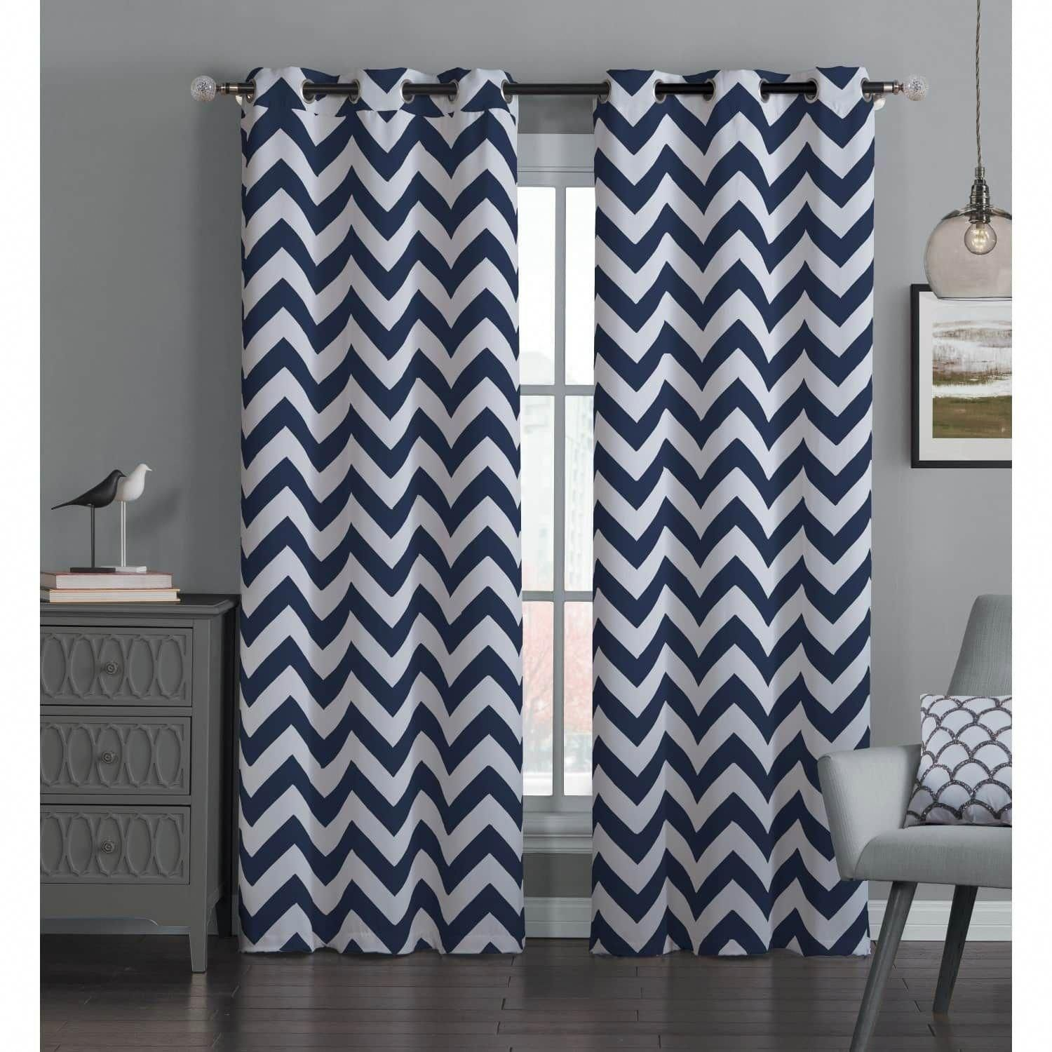 Avondale manor blackout chevron curtain panel pair navy blue