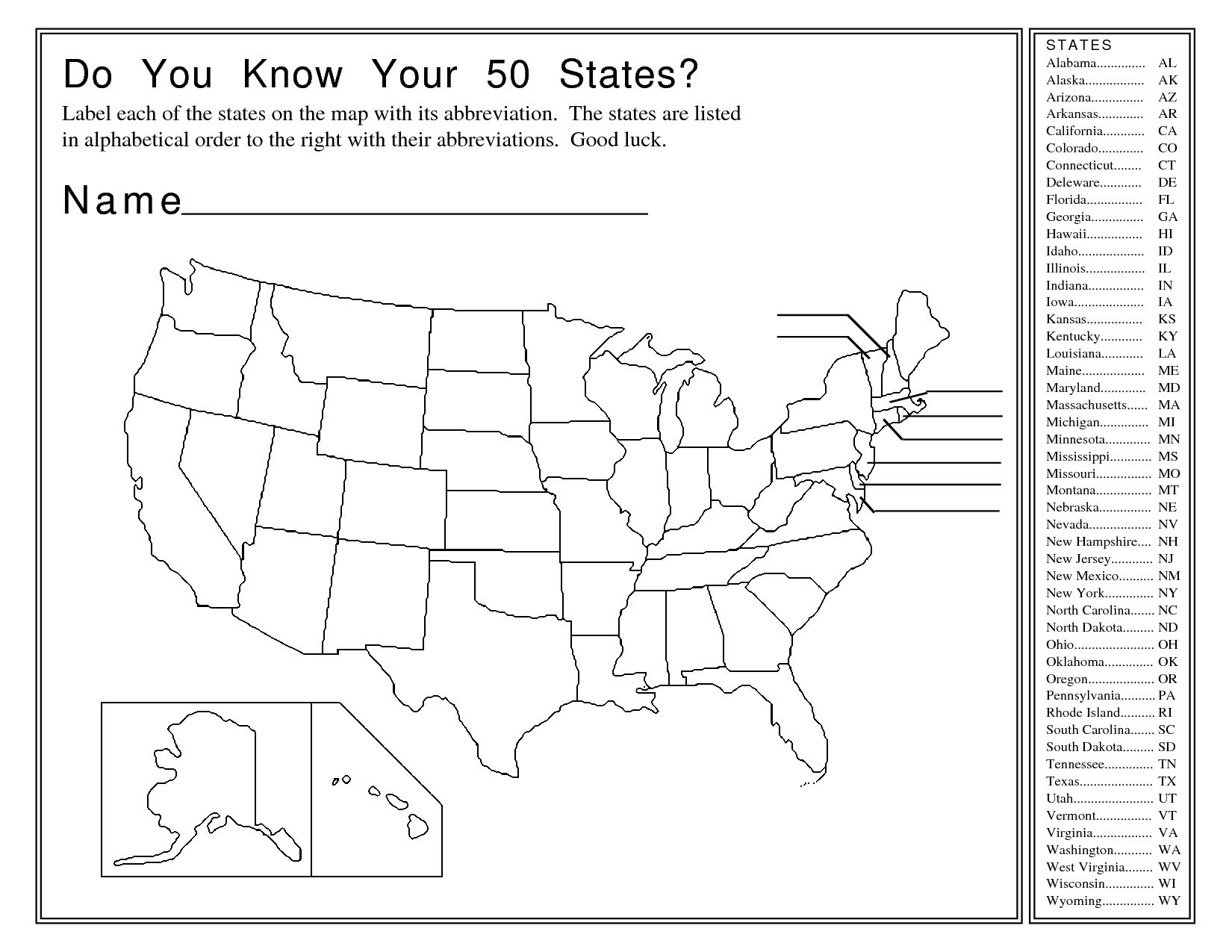 Blank Printable Map Of The United States Us Map Activity