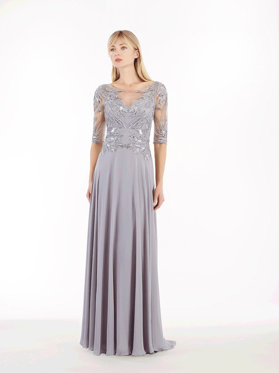 Long length sleeve illusion neckline chiffon mother of the bride