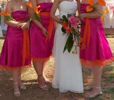 Orange and pink bridesmaid dresses :) still think id add a pop of ...