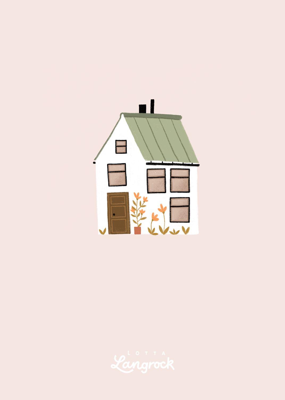 Green Roof House Landhaus Haus Abbildung Gebaude Illustration Blumen Skizzen