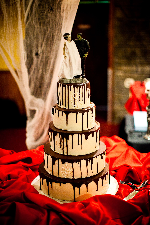Our wedding cake plete with Frankenstein & his Bride cake