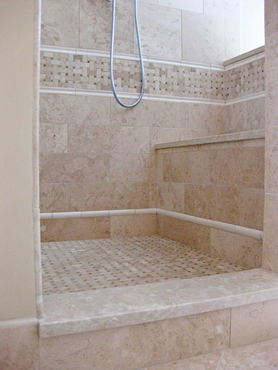 Sib shower basket weave tile stone threshold shower tile - How do heated bathroom floors work ...