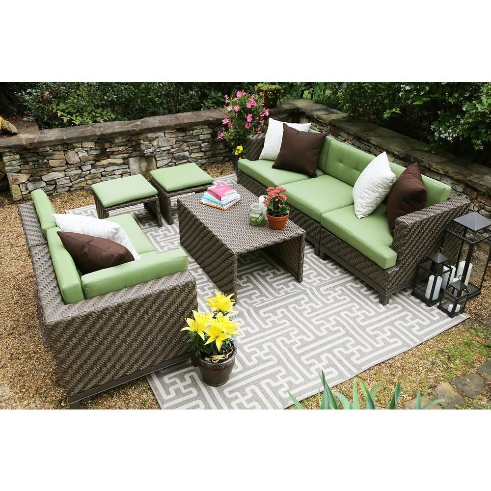 Ae Outdoor Hampton 8 Piece All Weather Wicker Patio Sectional With Sunbrella Fabric Sec101112 The Home Depot Wicker Patio Sectional Patio Sectional Outdoor Furniture Fabric
