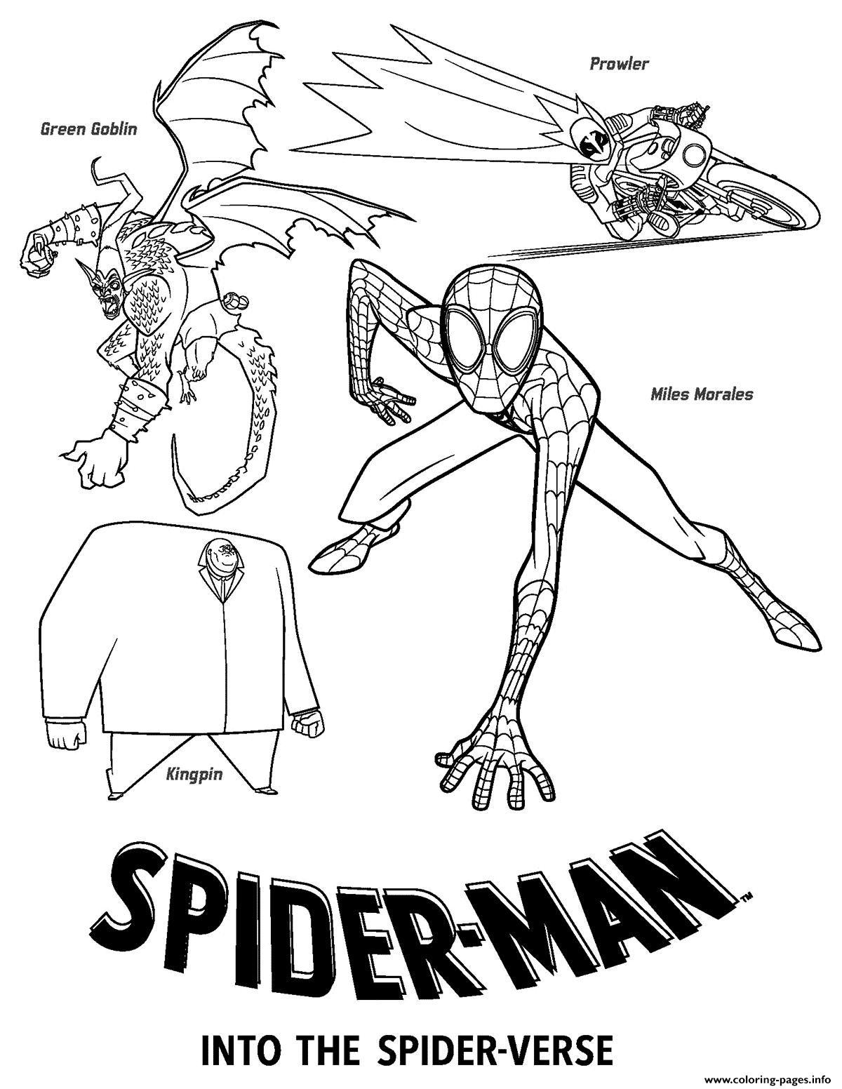 Spider Man Into The Spider Verse Coloring Page