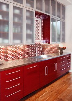 Photo Of Red Red Tiled Splashback Kitchen With White Kitchen