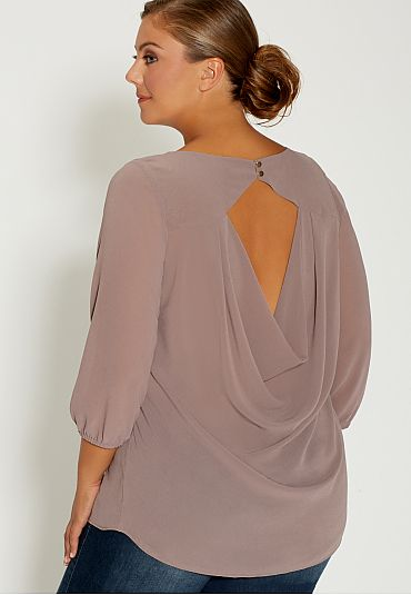 78f2c093383 plus size chiffon blouse with draped back - maurices.com
